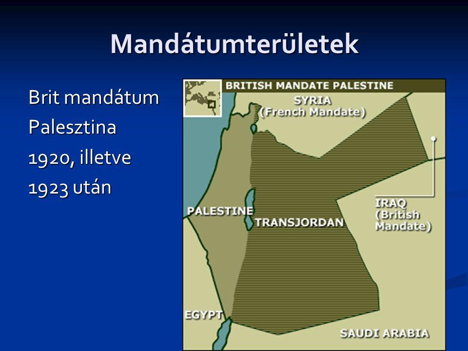Mandátumterületek Brit mandátum Palesztina 1920, illetve 1923 után