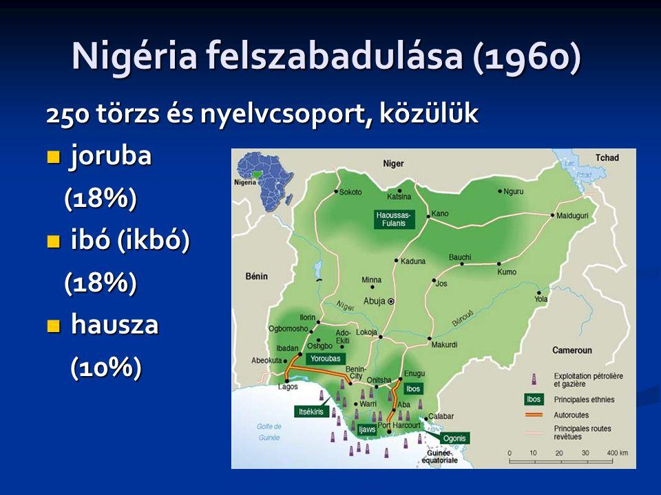 Nigéria felszabadulása (1960) 250 törzs és nyelvcsoport, közülük  joruba (18%) (18%)  ibó (ikbó) (18%) (18%)  hausza (10%) (10%)