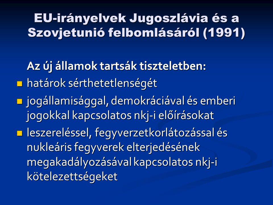 EU-irányelvek Jugoszlávia és a Szovjetunió felbomlásáról (1991) Az új államok tartsák tiszteletben:  határok sérthetetlenségét  jogállamisággal, demokráciával és emberi jogokkal kapcsolatos nkj-i előírásokat  leszereléssel, fegyverzetkorlátozással és nukleáris fegyverek elterjedésének megakadályozásával kapcsolatos nkj-i kötelezettségeket