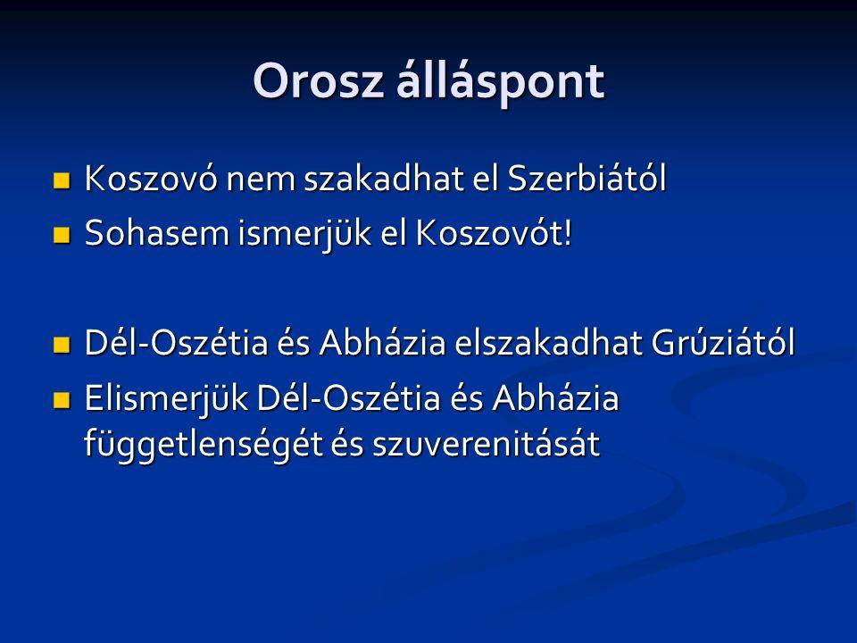 Orosz álláspont  Koszovó nem szakadhat el Szerbiától  Sohasem ismerjük el Koszovót.