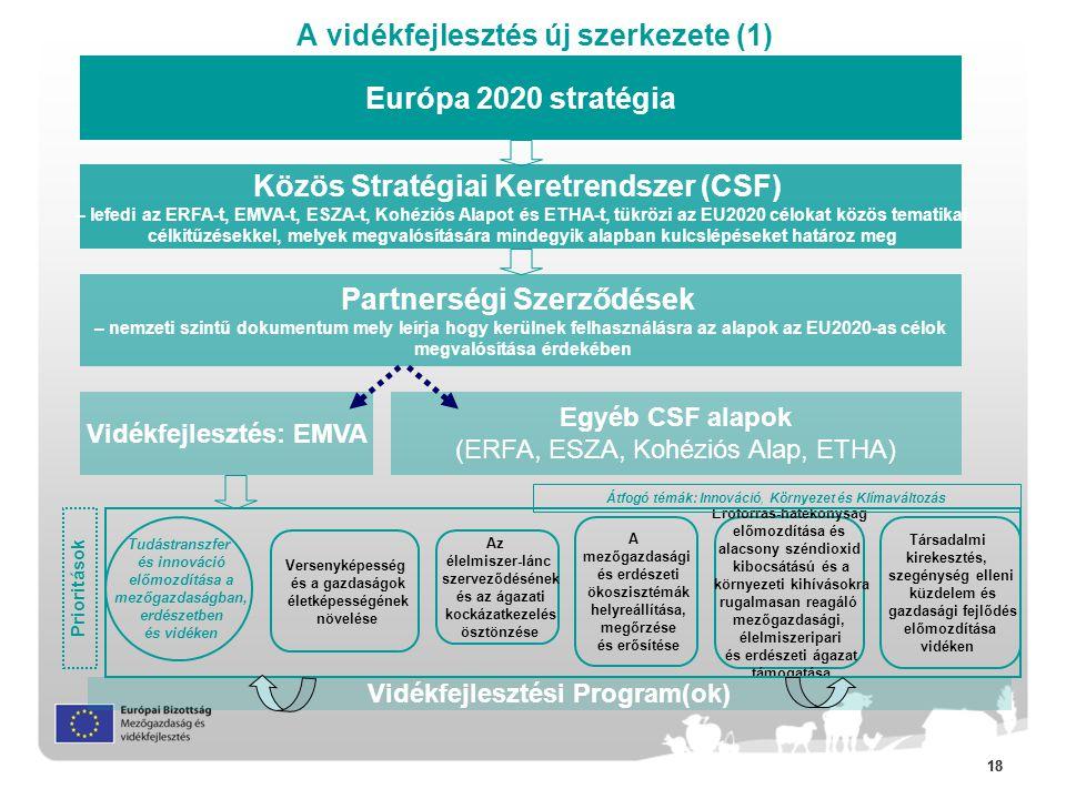 18 A vidékfejlesztés új szerkezete (1) Közös Stratégiai Keretrendszer (CSF) – lefedi az ERFA-t, EMVA-t, ESZA-t, Kohéziós Alapot és ETHA-t, tükrözi az EU2020 célokat közös tematikai célkitűzésekkel, melyek megvalósítására mindegyik alapban kulcslépéseket határoz meg Partnerségi Szerződések – nemzeti szintű dokumentum mely leírja hogy kerülnek felhasználásra az alapok az EU2020-as célok megvalósítása érdekében Vidékfejlesztés: EMVA Egyéb CSF alapok (ERFA, ESZA, Kohéziós Alap, ETHA) Vidékfejlesztési Program(ok) Európa 2020 stratégia Társadalmi kirekesztés, szegénység elleni küzdelem és gazdasági fejlődés előmozdítása vidéken Versenyképesség és a gazdaságok életképességének növelése Az élelmiszer-lánc szerveződésének és az ágazati kockázatkezelés ösztönzése A mezőgazdasági és erdészeti ökoszisztémák helyreállítása, megőrzése és erősítése Erőforrás-hatékonyság előmozdítása és alacsony széndioxid kibocsátású és a környezeti kihívásokra rugalmasan reagáló mezőgazdasági, élelmiszeripari és erdészeti ágazat támogatása Tudástranszfer és innováció előmozdítása a mezőgazdaságban, erdészetben és vidéken Prioritások Átfogó témák: Innováció, Környezet és Klímaváltozás