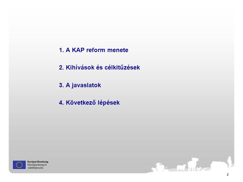 2 1. A KAP reform menete 2. Kihívások és célkitűzések 3. A javaslatok 4. Következő lépések