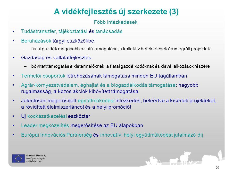 20 Főbb intézkedések •Tudástranszfer, tájékoztatási és tanácsadás •Beruházások tárgyi eszközökbe: –fiatal gazdák magasabb szintű támogatása, a kollektív befektetések és integrált projektek •Gazdaság és vállalatfejlesztés –bővített támogatás a kistermelőknek, a fiatal gazdálkodóknak és kisvállalkozások részére •Termelői csoportok létrehozásának támogatása minden EU-tagállamban •Agrár-környezetvédelem, éghajlat és a biogazdálkodás támogatása: nagyobb rugalmasság, a közös akciók kibővített támogatása •Jelentősen megerősített együttműködési intézkedés, beleértve a kísérleti projekteket, a rövidített élelmiszerláncot és a helyi promóciót •Új kockázatkezelési eszköztár •Leader megközelítés megerősítése az EU alapokban •Európai Innovációs Partnerség és innovatív, helyi együttműködést jutalmazó díj A vidékfejlesztés új szerkezete (3)
