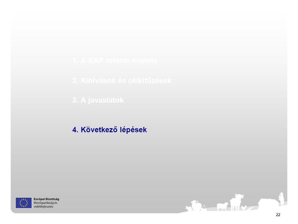 22 1. A KAP reform menete 2. Kihívások és célkitűzések 3. A javaslatok 4. Következő lépések