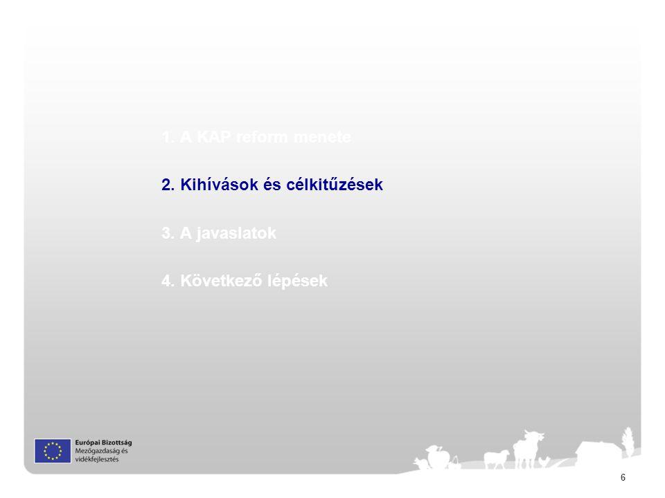 6 1. A KAP reform menete 2. Kihívások és célkitűzések 3. A javaslatok 4. Következő lépések