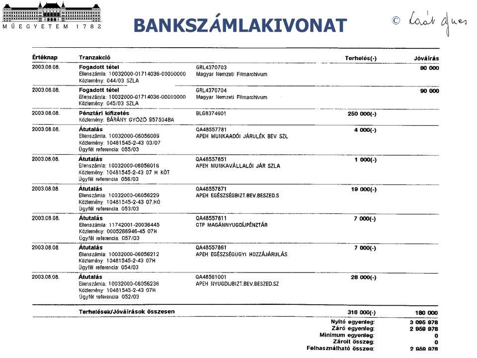 © BANKSZ Á MLAKIVONAT