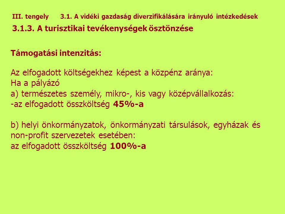 III. tengely 3.1. A vidéki gazdaság diverzifikálására irányuló intézkedések 3.1.3.