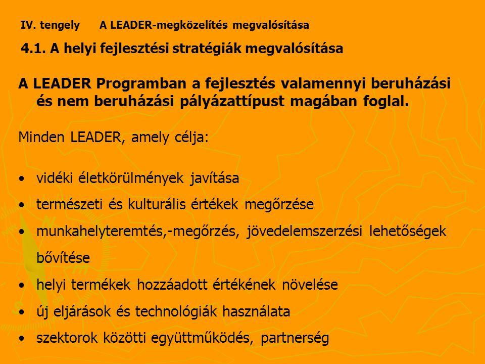 IV. tengely A LEADER-megközelítés megvalósítása 4.1.