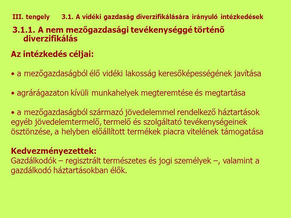 III. tengely 3.1. A vidéki gazdaság diverzifikálására irányuló intézkedések 3.1.1.