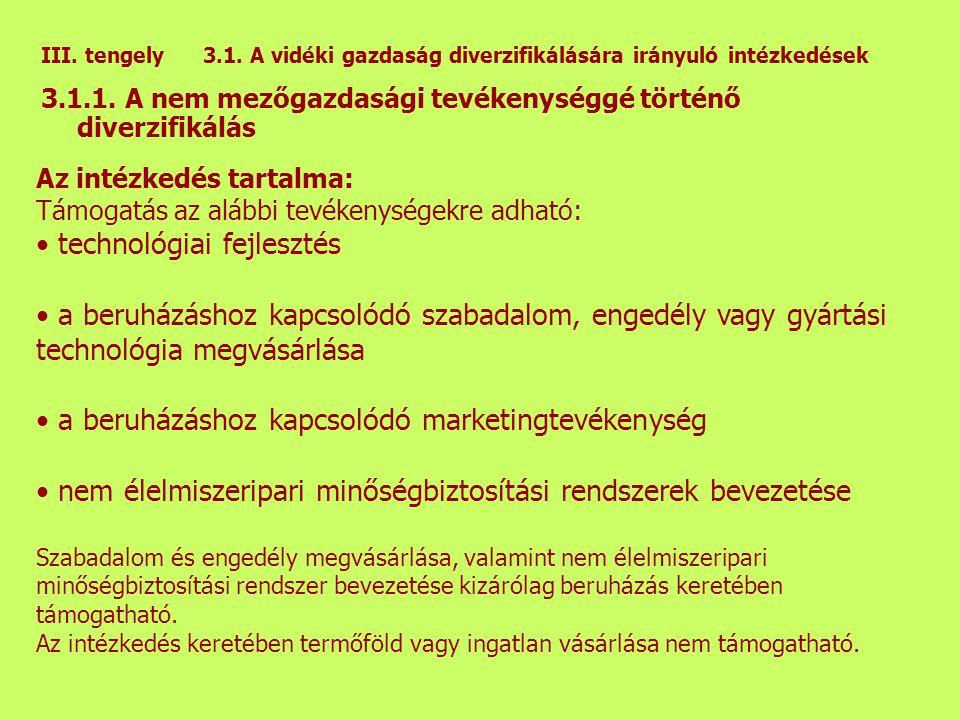 III.tengely 3.1. A vidéki gazdaság diverzifikálására irányuló intézkedések 3.1.1.