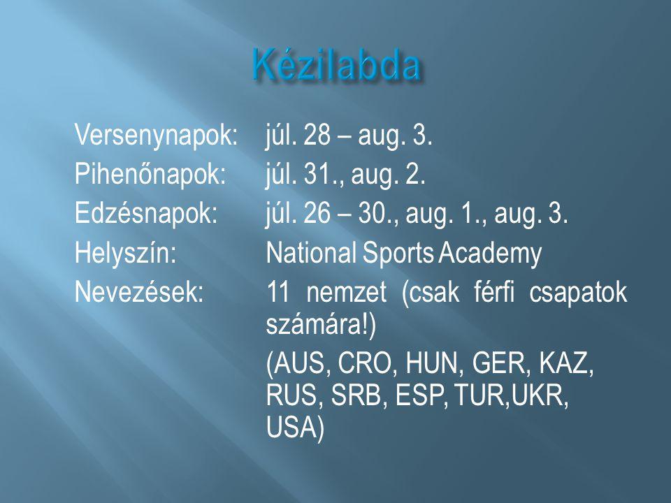 Versenynapok: júl. 28 – aug. 3. Pihenőnapok: júl. 31., aug. 2. Edzésnapok: júl. 26 – 30., aug. 1., aug. 3. Helyszín: National Sports Academy Nevezések