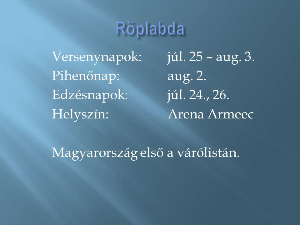 Versenynapok:júl. 25 – aug. 3. Pihenőnap: aug. 2. Edzésnapok: júl. 24., 26. Helyszín: Arena Armeec Magyarország első a várólistán.
