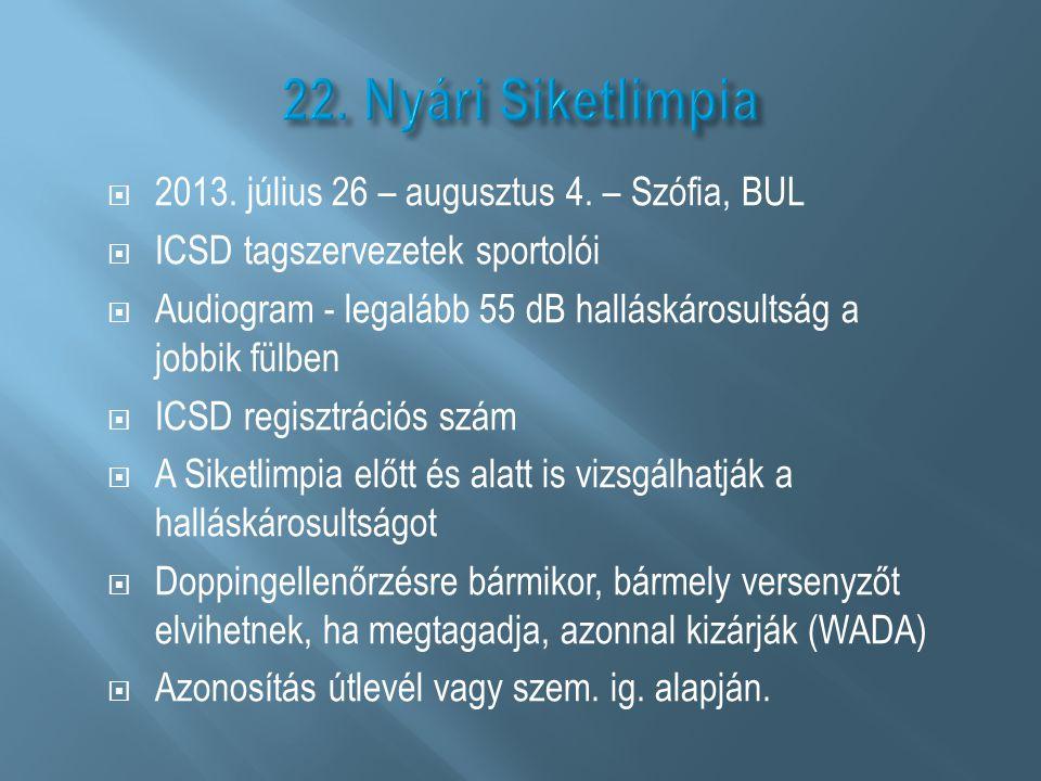  2013. július 26 – augusztus 4. – Szófia, BUL  ICSD tagszervezetek sportolói  Audiogram - legalább 55 dB halláskárosultság a jobbik fülben  ICSD r