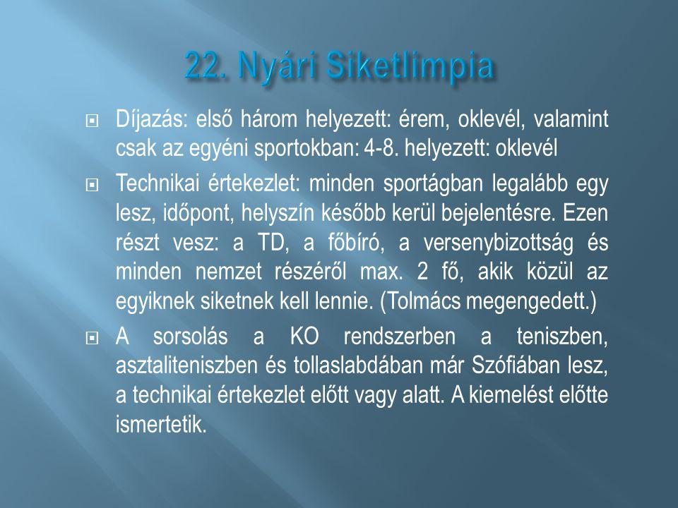  Díjazás: első három helyezett: érem, oklevél, valamint csak az egyéni sportokban: 4-8. helyezett: oklevél  Technikai értekezlet: minden sportágban
