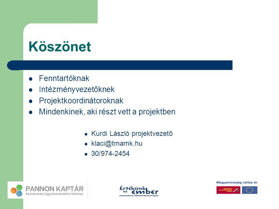 Köszönet  Fenntartóknak  Intézményvezetőknek  Projektkoordinátoroknak  Mindenkinek, aki részt vett a projektben  Kurdi László projektvezető  kla