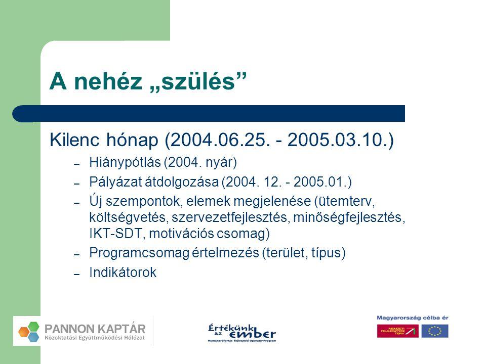 """A nehéz """"szülés"""" Kilenc hónap (2004.06.25. - 2005.03.10.) – Hiánypótlás (2004. nyár) – Pályázat átdolgozása (2004. 12. - 2005.01.) – Új szempontok, el"""
