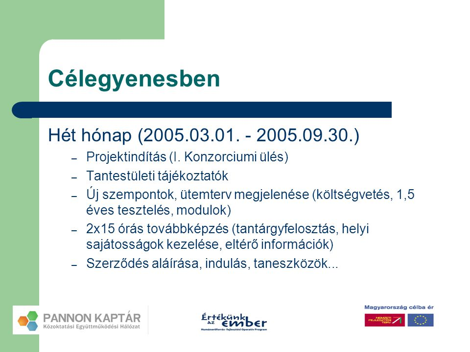 Célegyenesben Hét hónap (2005.03.01. - 2005.09.30.) – Projektindítás (I. Konzorciumi ülés) – Tantestületi tájékoztatók – Új szempontok, ütemterv megje
