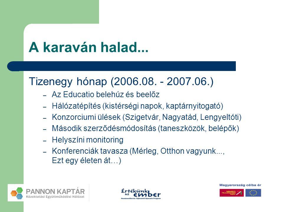 A karaván halad... Tizenegy hónap (2006.08. - 2007.06.) – Az Educatio belehúz és beelőz – Hálózatépítés (kistérségi napok, kaptárnyitogató) – Konzorci