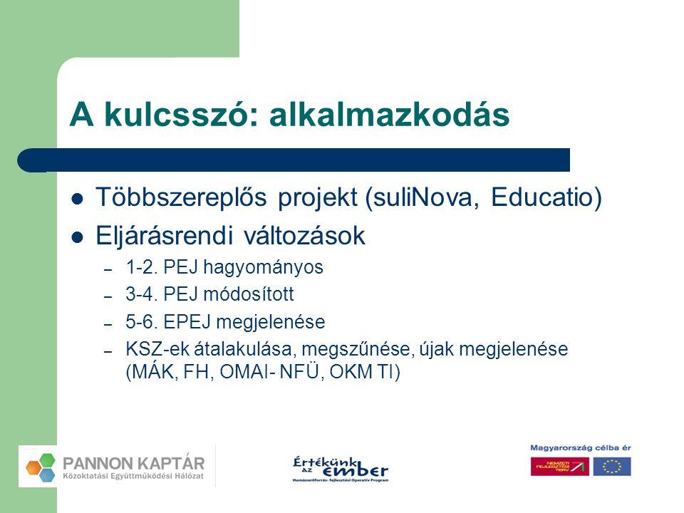 A kulcsszó: alkalmazkodás  Többszereplős projekt (suliNova, Educatio)  Eljárásrendi változások – 1-2. PEJ hagyományos – 3-4. PEJ módosított – 5-6. E