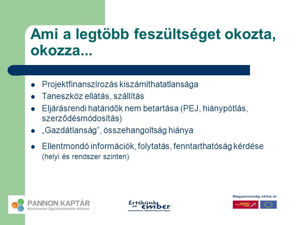 Ami a legtöbb feszültséget okozta, okozza...  Projektfinanszírozás kiszámíthatatlansága  Taneszköz ellátás, szállítás  Eljárásrendi határidők nem b
