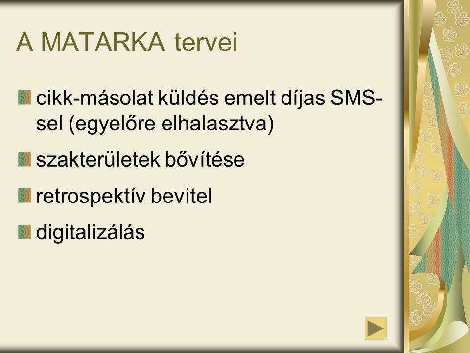 A MATARKA tervei cikk-másolat küldés emelt díjas SMS- sel (egyelőre elhalasztva) szakterületek bővítése retrospektív bevitel digitalizálás