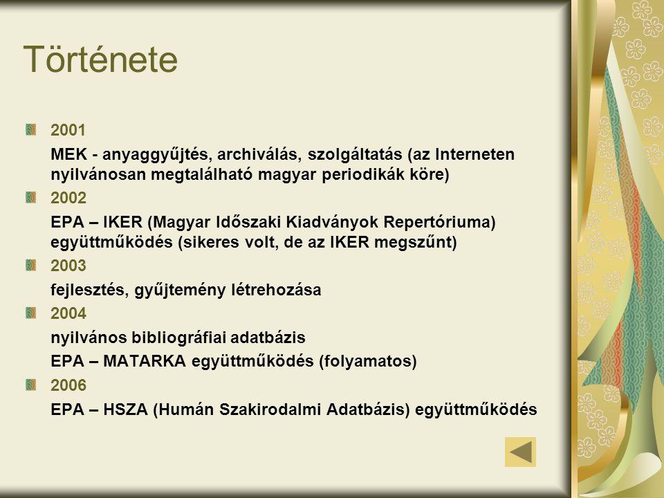 Története 2001 MEK - anyaggyűjtés, archiválás, szolgáltatás (az Interneten nyilvánosan megtalálható magyar periodikák köre) 2002 EPA – IKER (Magyar Időszaki Kiadványok Repertóriuma) együttműködés (sikeres volt, de az IKER megszűnt) 2003 fejlesztés, gyűjtemény létrehozása 2004 nyilvános bibliográfiai adatbázis EPA – MATARKA együttműködés (folyamatos) 2006 EPA – HSZA (Humán Szakirodalmi Adatbázis) együttműködés