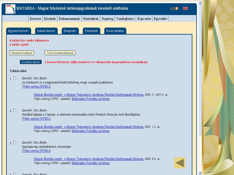 Története 2002 fejlesztés (Miskolci Egyetem) 8 intézmény 2003 MATARKA - önálló domain név 2004 további fejlesztések és csatlakozók EPA-val együttműködési szerződés konzorcium megalakulása (július 1.) 2005 16 intézmény új lekérdező felület 2006 MATARKA Egyesület (alakuló közgyűlés, 2006.