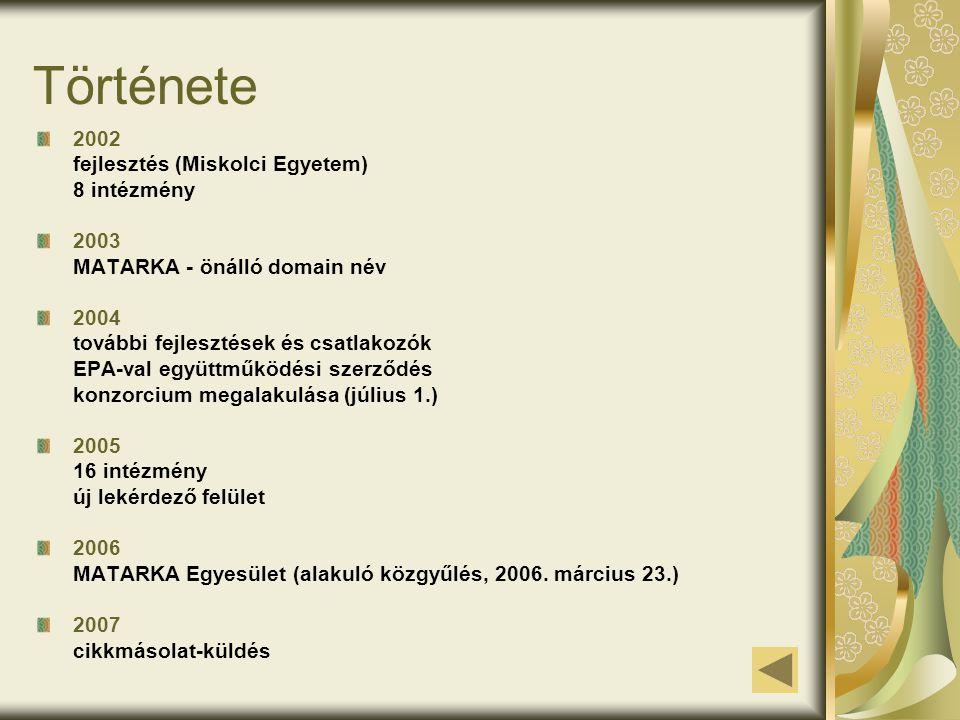 Története 2002 fejlesztés (Miskolci Egyetem) 8 intézmény 2003 MATARKA - önálló domain név 2004 további fejlesztések és csatlakozók EPA-val együttműköd