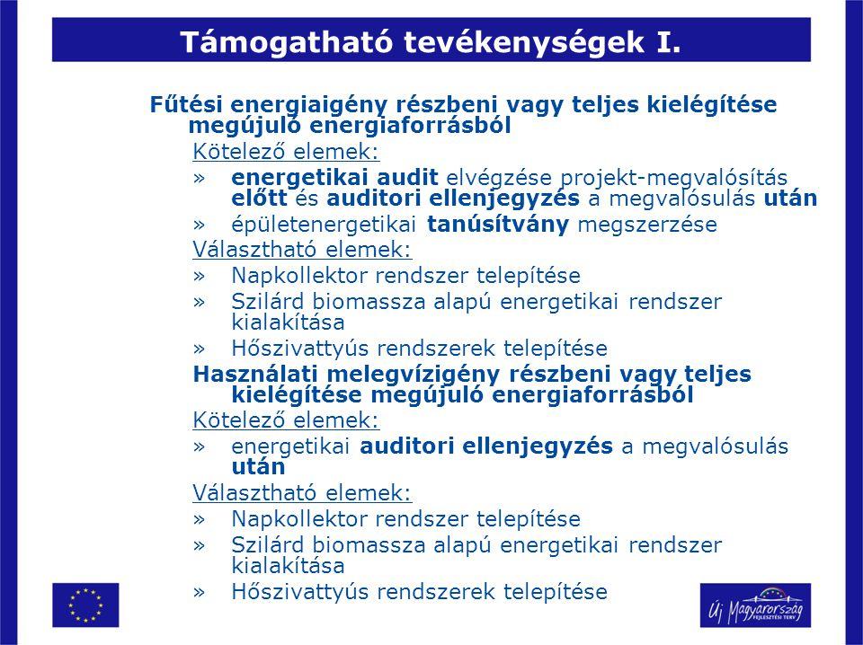 Támogatható tevékenységek I. Fűtési energiaigény részbeni vagy teljes kielégítése megújuló energiaforrásból Kötelező elemek: »energetikai audit elvégz