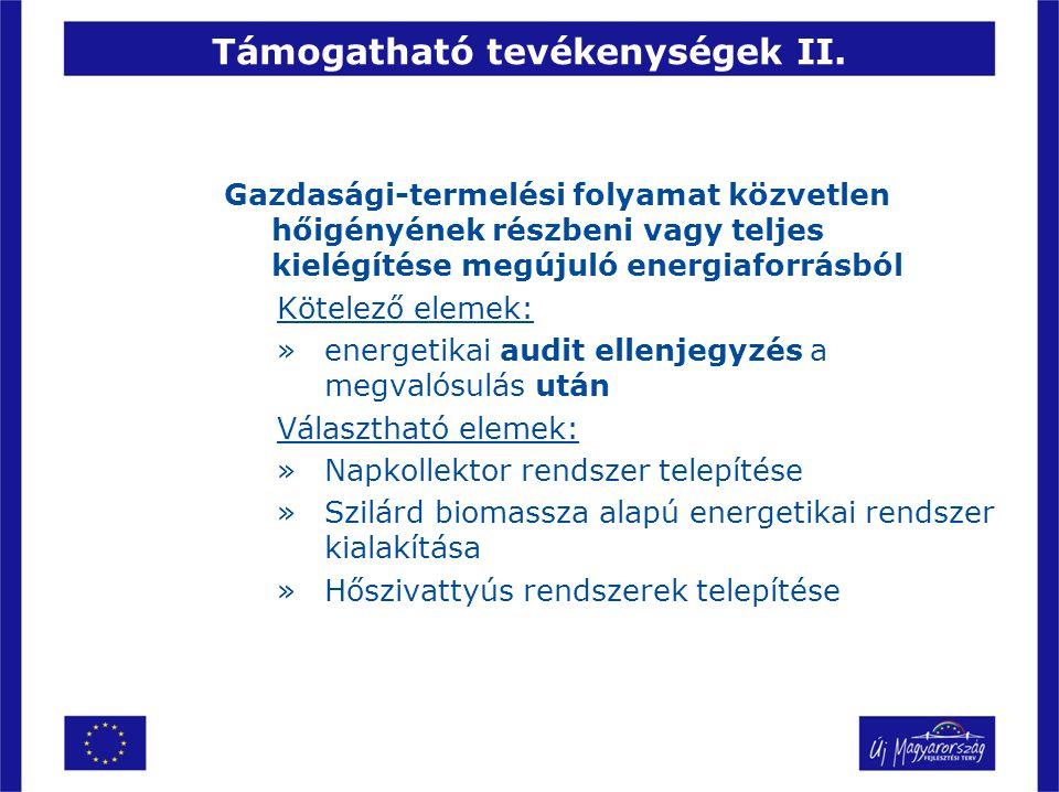 Támogatható tevékenységek II. Gazdasági-termelési folyamat közvetlen hőigényének részbeni vagy teljes kielégítése megújuló energiaforrásból Kötelező e