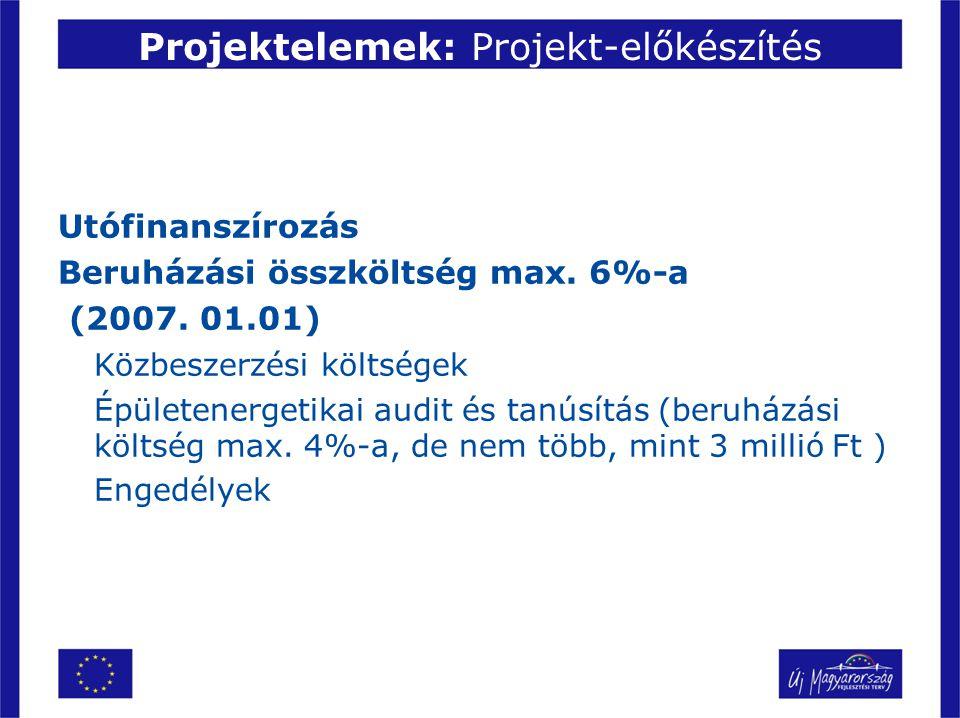 Projektelemek: Projekt-előkészítés Utófinanszírozás Beruházási összköltség max. 6%-a (2007. 01.01) Közbeszerzési költségek Épületenergetikai audit és