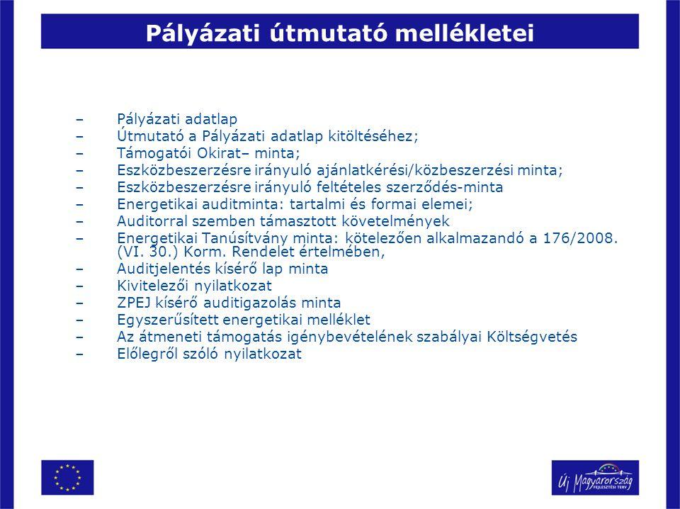 Pályázati útmutató mellékletei –Pályázati adatlap –Útmutató a Pályázati adatlap kitöltéséhez; –Támogatói Okirat– minta; –Eszközbeszerzésre irányuló aj