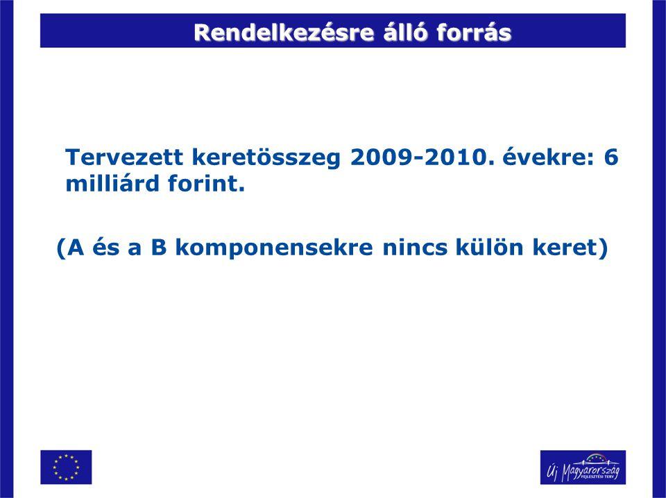 Rendelkezésre álló forrás Tervezett keretösszeg 2009-2010. évekre: 6 milliárd forint. (A és a B komponensekre nincs külön keret)