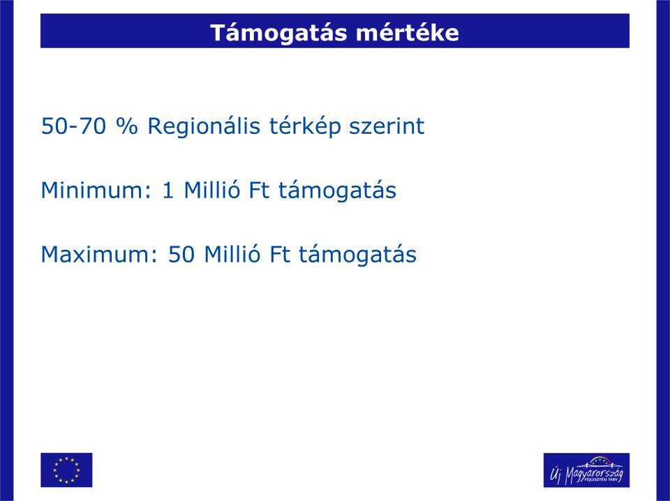 Támogatás mértéke 50-70 % Regionális térkép szerint Minimum: 1 Millió Ft támogatás Maximum: 50 Millió Ft támogatás