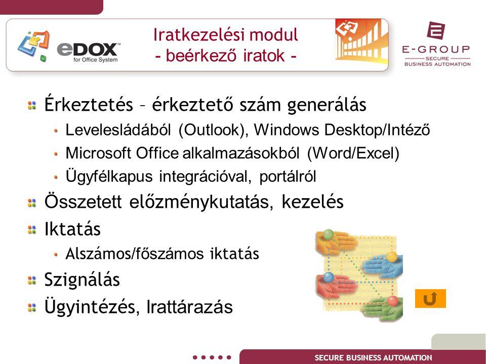 SECURE BUSINESS AUTOMATION Iratkezelési modul - beérkező iratok - Érkeztetés – érkeztető szám generálás Levelesládából (Outlook), Windows Desktop/Inté