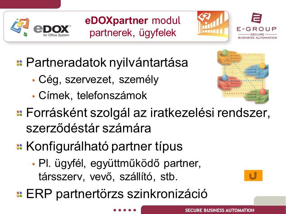 SECURE BUSINESS AUTOMATION eDOXpartner modul partnerek, ügyfelek Partneradatok nyilvántartása Cég, szervezet, személy Címek, telefonszámok Forrásként