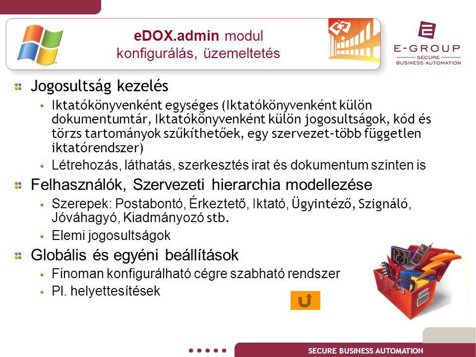 SECURE BUSINESS AUTOMATION eDOX.admin modul konfigurálás, üzemeltetés Jogosultság kezelés Iktatókönyvenként egységes (Iktatókönyvenként külön dokument