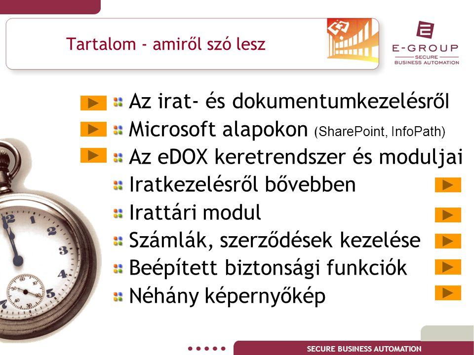 SECURE BUSINESS AUTOMATION Az irat- és dokumentumkezelés ről Microsoft alapokon ( SharePoint, InfoPath) Az eDOX keretrendszer és moduljai I ratkezelés