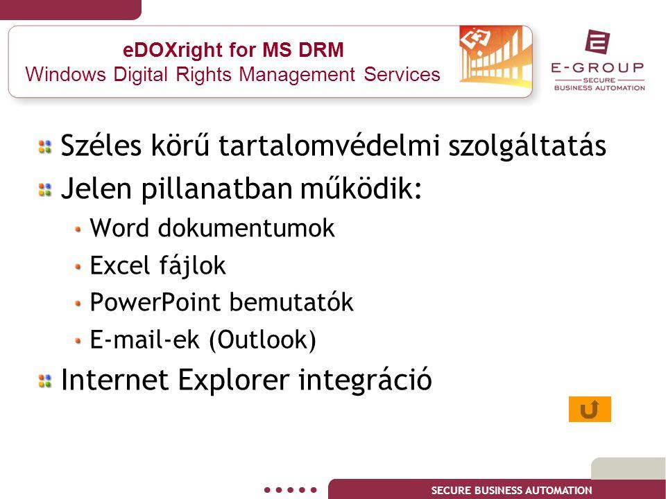 SECURE BUSINESS AUTOMATION eDOXright for MS DRM Windows Digital Rights Management Services Széles körű tartalomvédelmi szolgáltatás Jelen pillanatban