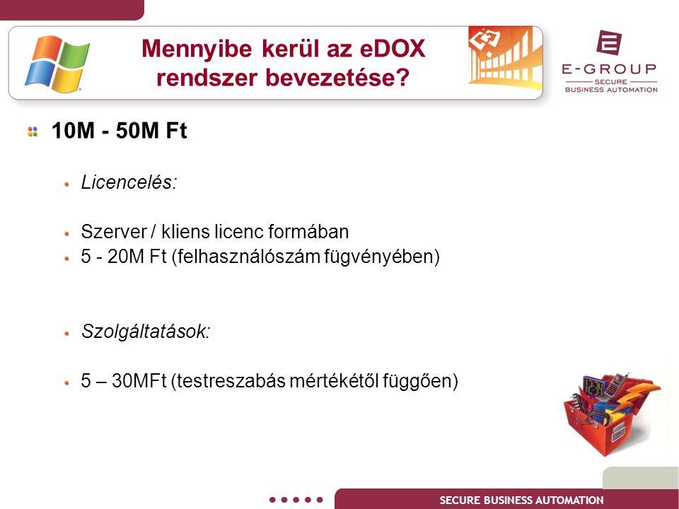 SECURE BUSINESS AUTOMATION Mennyibe kerül az eDOX rendszer bevezetése? 10M - 50M Ft Licencelés: Szerver / kliens licenc formában 5 - 20M Ft (felhaszná