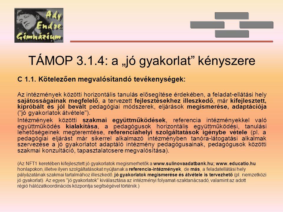 """TÁMOP 3.1.4: a """"jó gyakorlat kényszere C 1.1."""