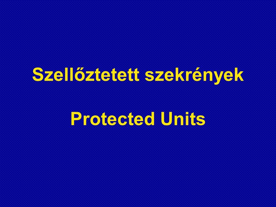 Szellőztetett szekrények működési elve •Sterilre szűri a készülék légterét •Folyamatos steril frisslevegő ellátást biztosít (10-100 szoros légcsere/óra) •Túlnyomásos, vagy depressziós szellőztetéssel üzemeltethető •A levegő hőmérsékletét nem szabályozza (esetleg fűthető) •A levegő páratartalmát nem szabályozza