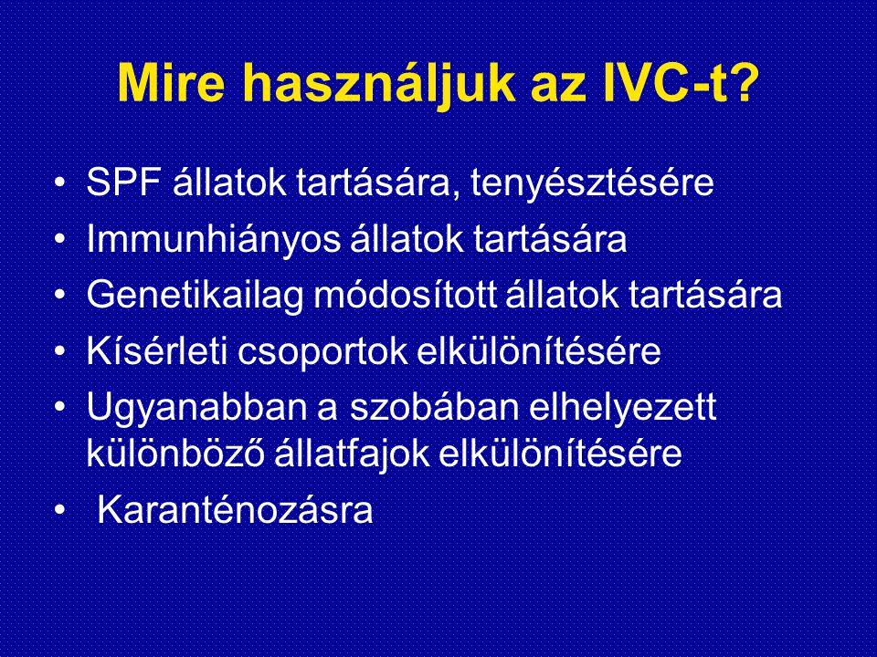 Mire használjuk az IVC-t? •SPF állatok tartására, tenyésztésére •Immunhiányos állatok tartására •Genetikailag módosított állatok tartására •Kísérleti