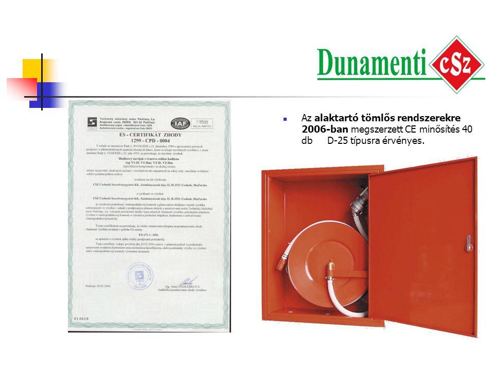   Az alaktartó tömlős rendszerekre 2006-ban megszerzett CE minősítés 40 db D-25 típusra érvényes.