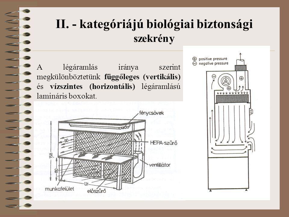 II. - kategóriájú biológiai biztonsági szekrény A légáramlás iránya szerint megkülönböztetünk függőleges (vertikális) és vízszintes (horizontális) lég