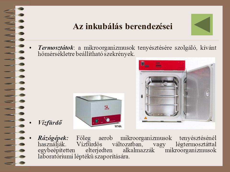 Az inkubálás berendezései •Termosztátok: a mikroorganizmusok tenyésztésére szolgáló, kívánt hőmérsékletre beállítható szekrények. •Vízfürdő •Rázógépek