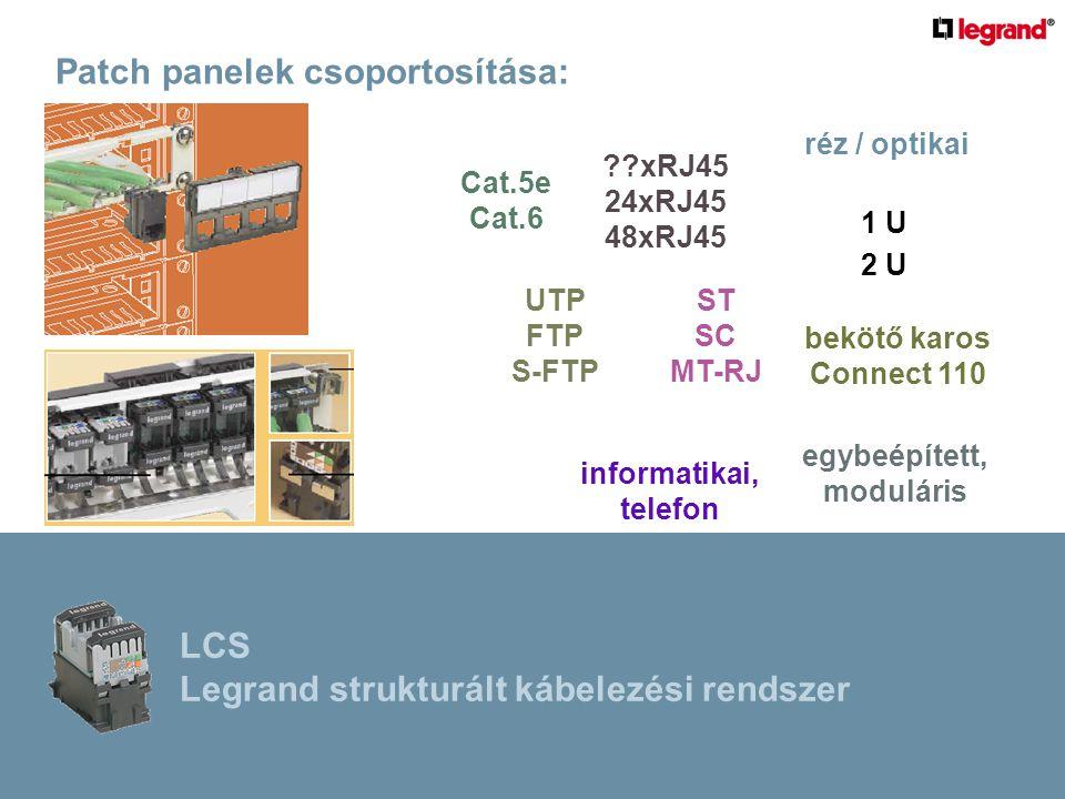 Patch panelek csoportosítása: ??xRJ45 24xRJ45 48xRJ45 informatikai, telefon réz / optikai Cat.5e Cat.6 bekötő karos Connect 110 ST SC MT-RJ UTP FTP S-FTP egybeépített, moduláris 1 U 2 U LCS Legrand strukturált kábelezési rendszer