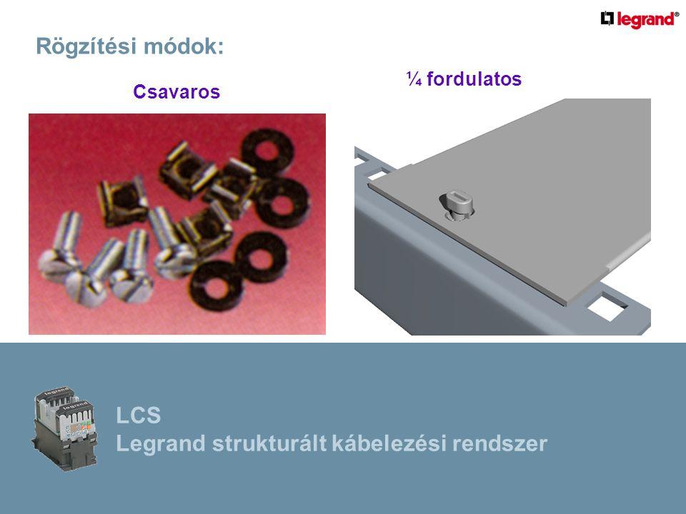 Rögzítési módok: Csavaros ¼ fordulatos LCS Legrand strukturált kábelezési rendszer