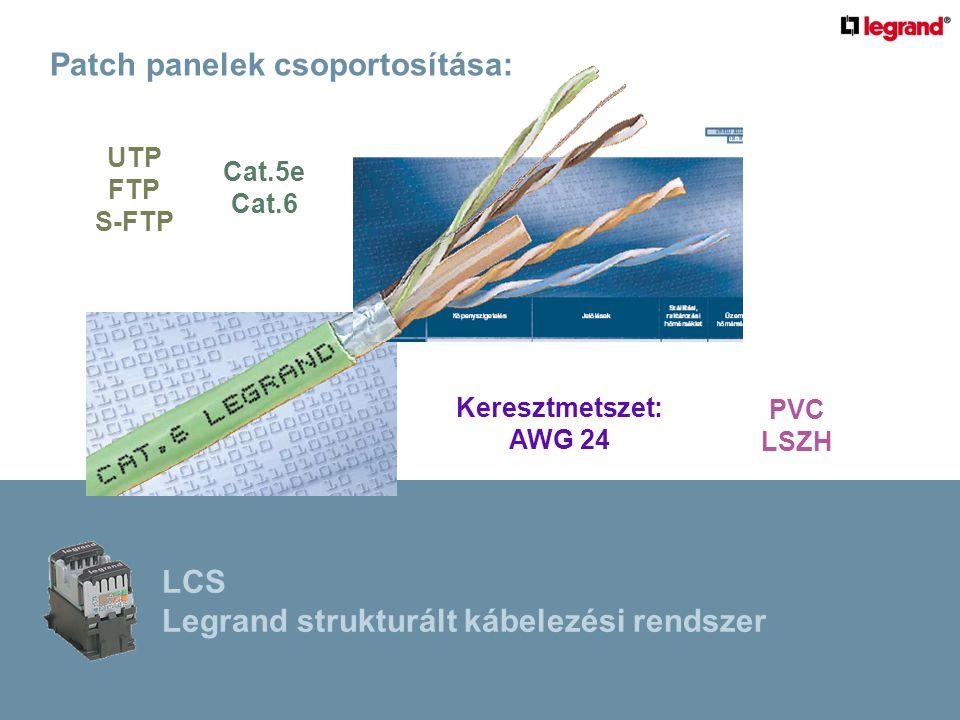 Patch panelek csoportosítása: Keresztmetszet: AWG 24 Cat.5e Cat.6 PVC LSZH UTP FTP S-FTP LCS Legrand strukturált kábelezési rendszer