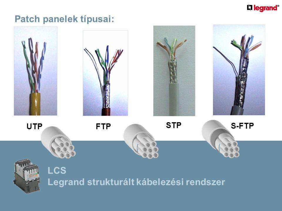 Patch panelek típusai: UTPFTP STP S-FTP LCS Legrand strukturált kábelezési rendszer